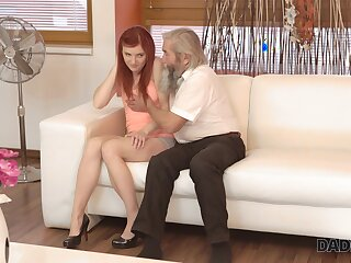 Old pervert seduces pretty red haired girlfriend of his grandson