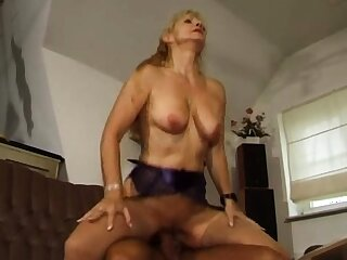 Blonde granny GILF of age doggystyle sex