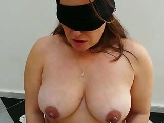 Submissive busty chubby become man in black stockings deserves some punishment