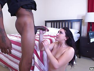 Hot exasperation brunette Mandy Build castles in the air craves for a extended unearth and gets fucked