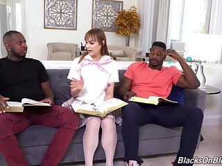Slutty babe gets dirty with two jet-black men take full anal trio