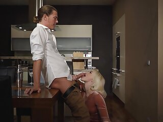 Naked blonde sucks the man's horseshit in imbecile modes before fucking like a star