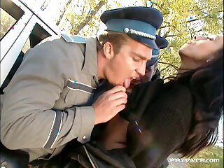 Two dirty cops fuck wet pussy and brashness of an amateur hottie
