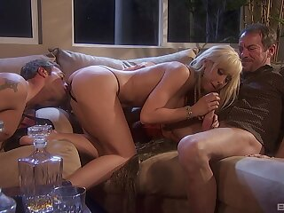 Hubby watches and masturbates while Darryl Hanah rides another alms-man