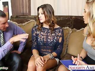 Horny and hot buxom Nicole Aniston has nothing against threesome