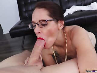 Mature sucks cock equal to a wild whore increased by craves to swallow