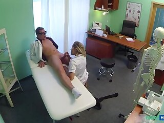 Naughty Blonde Nurse Gets Doctor's Attention And His Cum