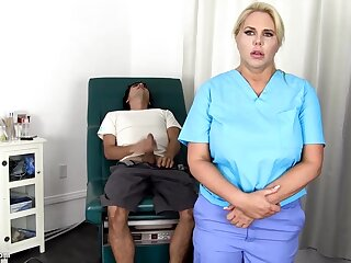 Sensuous, blondie nurse is using unceasingly luck to get screwed, even if she is at work