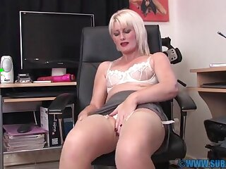 Closeup video of small jugs Sexy Saucy Sally pleasuring her cunt